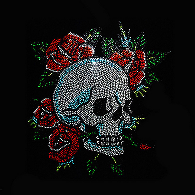 Rose With Skull Rhinestone Transfer